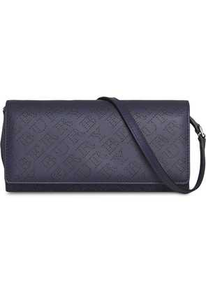 Burberry Perforated Logo Leather Wallet with Detachable Strap - Blue