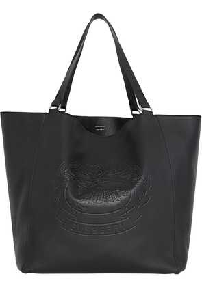 Burberry Large Embossed Crest Bonded Leather Tote - Black