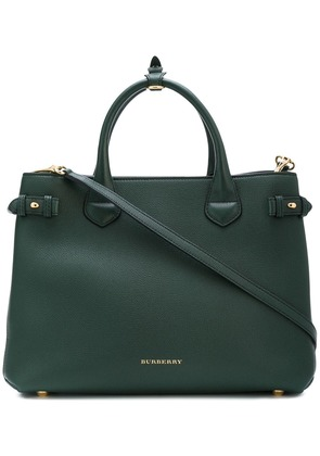 Burberry The Medium Banner in Leather and House Check - Green