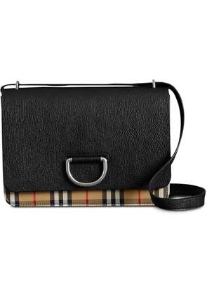 Burberry The Medium Vintage Check and Leather D-ring Bag - Black
