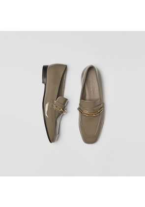 Burberry Link Detail Patent Leather Loafers, Green