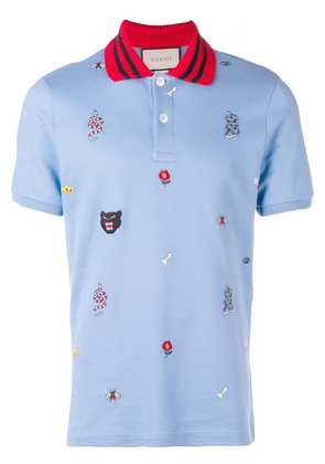Gucci patched motifs polo shirt - Blue