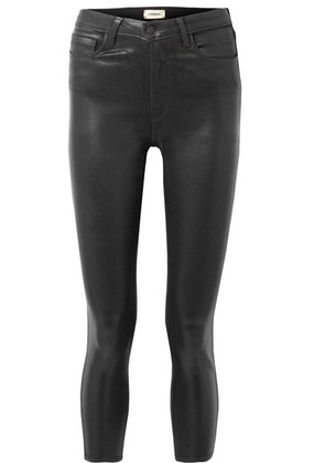 L'Agence - The Margot Cropped Coated High-rise Skinny Jeans - Black