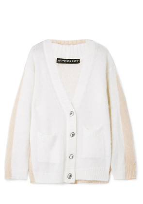 Y/PROJECT - Oversized Layered Two-tone Mohair-blend Cardigan - Cream