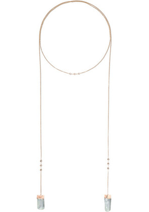Jacquie Aiche - 14-karat Rose Gold, Diamond And Aquamarine Necklace - one size