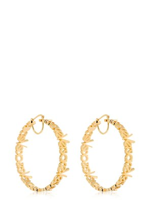 LOGO LETTERING HOOPS EARRINGS