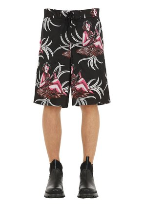 HAWAIIAN PRINTED NYLON SWIM SHORTS