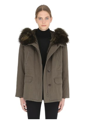 COTTON PARKA WITH LAPIN FUR LINING
