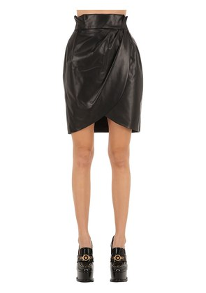 WRAPPED LEATHER SKIRT