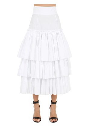 RUFFLED COTTON POPLIN MIDI SKIRT