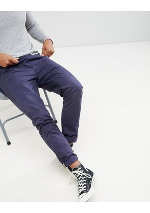Brave Soul Drawcord Cotton Trousers - Navy