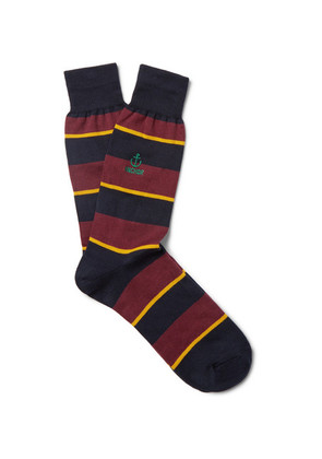 Embroidered Striped Cotton-blend Socks