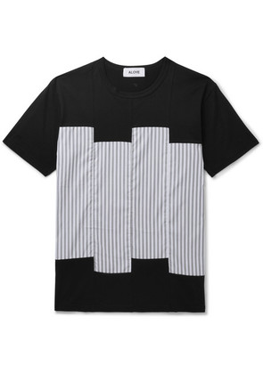 Slim-fit Striped Sateen-panelled Cotton-jersey T-shirt