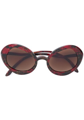 Delirious oversized oval frame sunglasses - Red