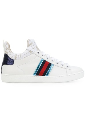 Gucci GG Web lace insert sneakers - White