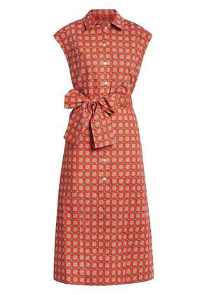 Burberry Tiled Archive Print Cotton Shirt Dress - Red