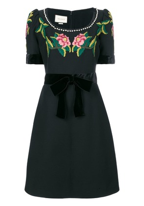 Gucci floral embroidered dress - Black
