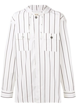 Marni striped hooded shirt - White