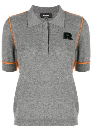 Rochas contrast piped polo shirt - Grey