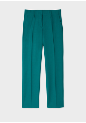 Women's Classic-Fit Teal Wool Trousers