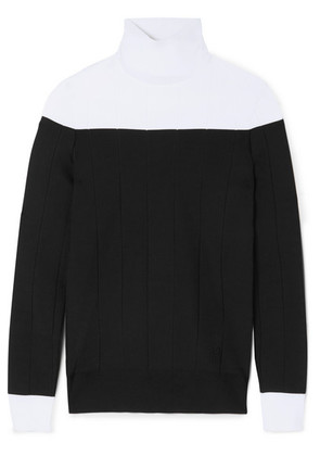 Givenchy - Two-tone Ribbed Stretch-knit Turtleneck Sweater - Black