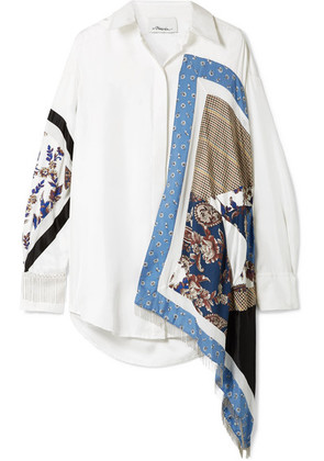 3.1 Phillip Lim - Oversized Satin And Crepe-trimmed Printed Silk-twill Shirt - Ivory