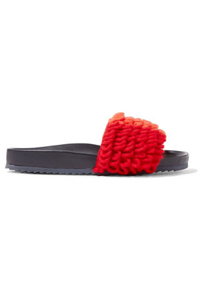 Mira Mikati - Color-block Loop-knit And Leather Slides - Navy