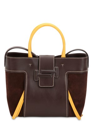 MEDIUM DOT DOUBLE T LEATHER & SUEDE BAG