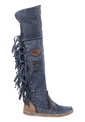 20MM FRINGED OVER THE KNEE SUEDE BOOTS