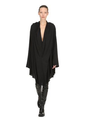 HOODED SHEER VISCOSE DRESS