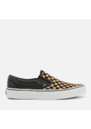 Vans Classic Slip-On Trainers - Checkerboard/True White - UK 3 - Tan