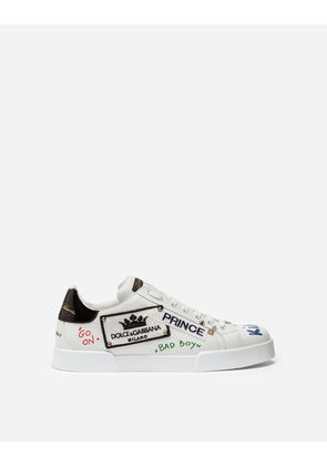 Dolce & Gabbana Sneakers and Slip-On - PORTOFINO SNEAKERS IN PRINTED NAPPA CALFSKIN WITH PATCH WHITE