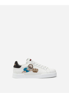Dolce & Gabbana Sneakers and Slip-On - PORTOFINO SNEAKERS IN CALFSKIN WITH DESIGNERS PATCH WHITE