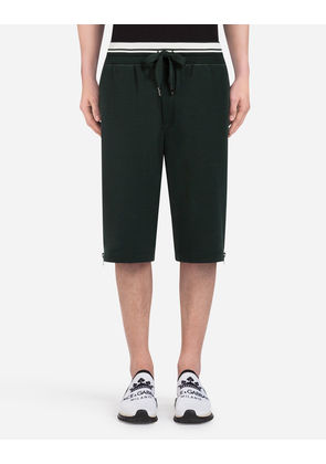 Dolce & Gabbana Trousers - COTTON JOGGING SHORTS WITH PRINT GREEN