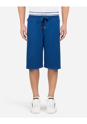 Dolce & Gabbana Trousers - COTTON JOGGING SHORTS WITH PRINT BLUE
