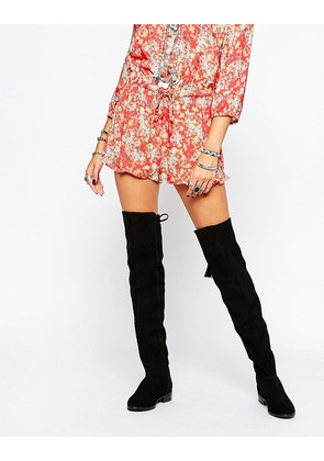 ASOS KITCH Suede Over The Knee Boots - Black