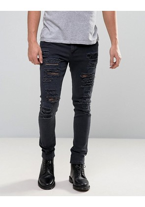 ASOS Super Skinny Jeans With Extreme Rips - Black