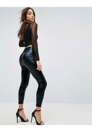 ASOS Leggings in Wet Look with Back Ruched Detail - Black