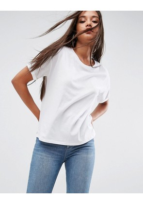ASOS Boxy T-Shirt With Roll Sleeve Detail - White