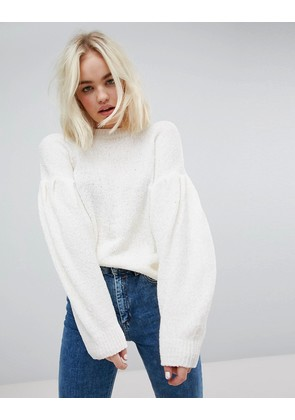 ASOS Jumper In Chenille With Wide Sleeves - Cream
