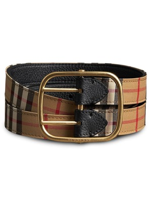 Burberry Vintage Check and Leather Double-strap Belt - Nude & Neutrals