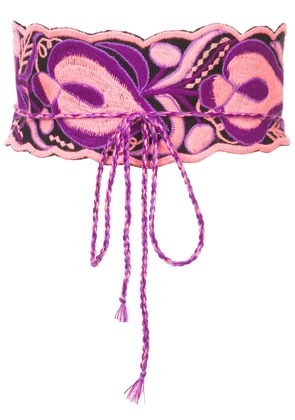 Figue floral embroidered wrap belt - Pink & Purple