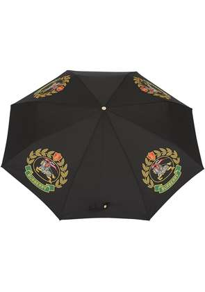 Burberry Crest Print Folding Umbrella - Black