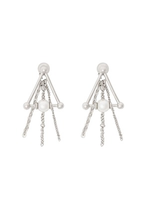 Burberry Faux Pearl and Triangle Palladium-plated Drop Earrings -