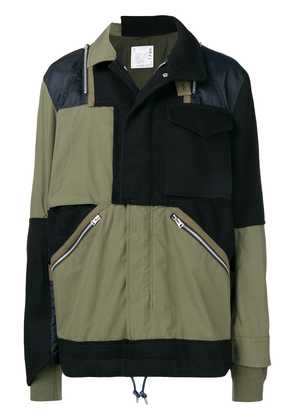 Sacai colour-block fitted coat - Green