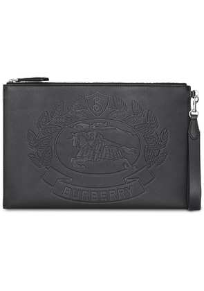 Burberry Embossed Crest Leather Zip Pouch - Black