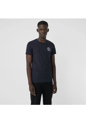 Burberry Embroidered Logo Cotton T-shirt, Blue