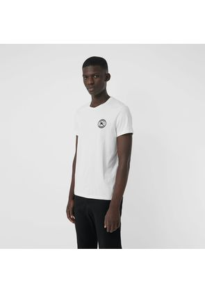 Burberry Embroidered Logo Cotton T-shirt, White