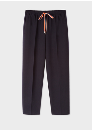 Women's Navy Sports-Luxe Trousers With Satin Stripe Detail