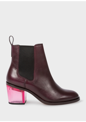 Women's Bordeaux Leather 'Shelby' Boots With Pink Transparent Heels